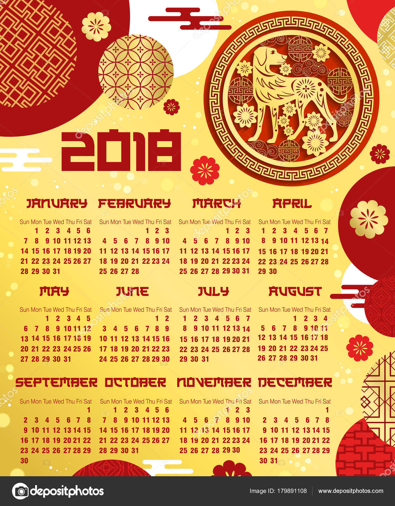 Chinese New Year Calendar Template With Zodiac Dog — Stock