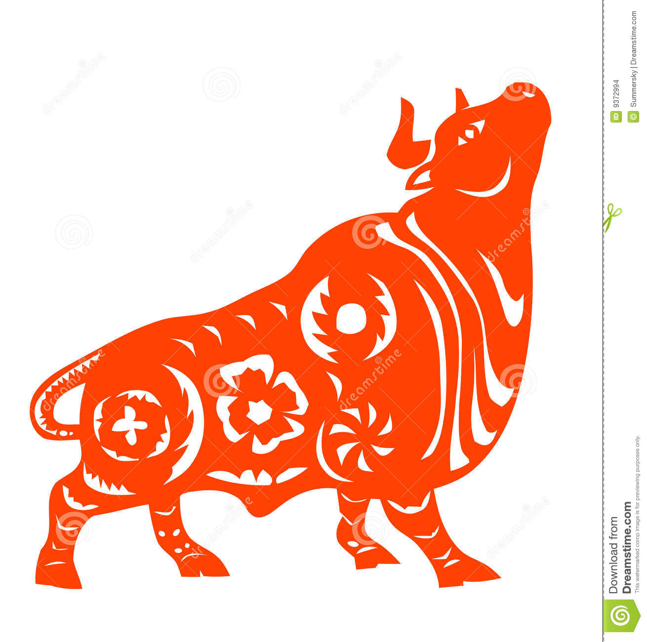 Chinese Zodiac Of Ox Stock Vector. Illustration Of Festival