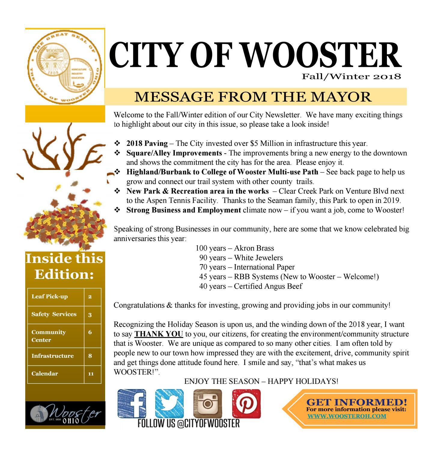 City Of Wooster Fall/winter 2018 Newslettergannett Neo