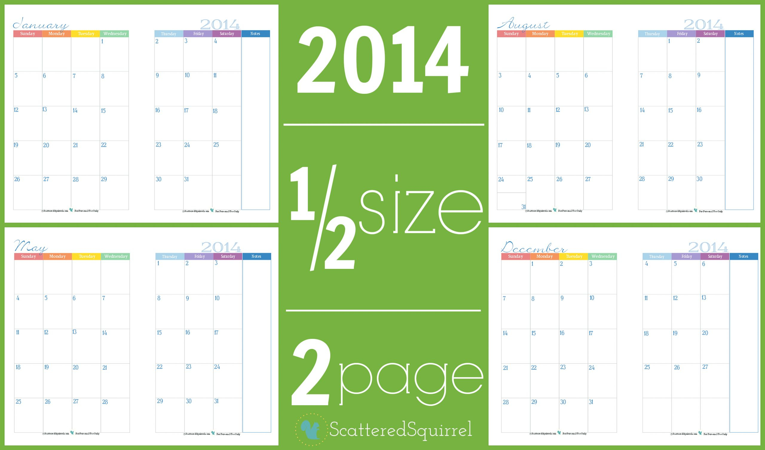Color Pages ~ Phenomenal Two Page Monthly Calendar Image