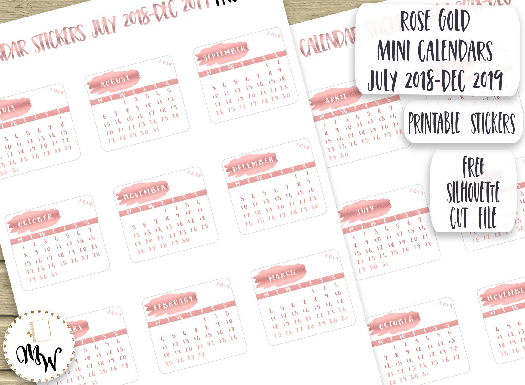 Color Pages ~ Rose Gold Miniendarsendar Stickers For Planner