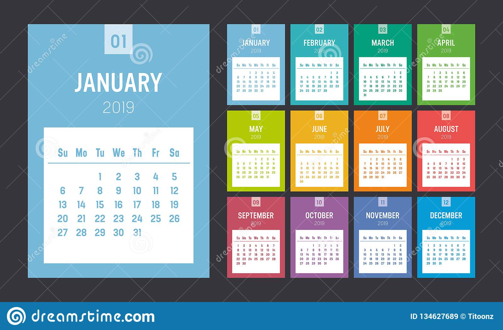 Colorful 2019 Vertical Calendar Stock Vector - Illustration
