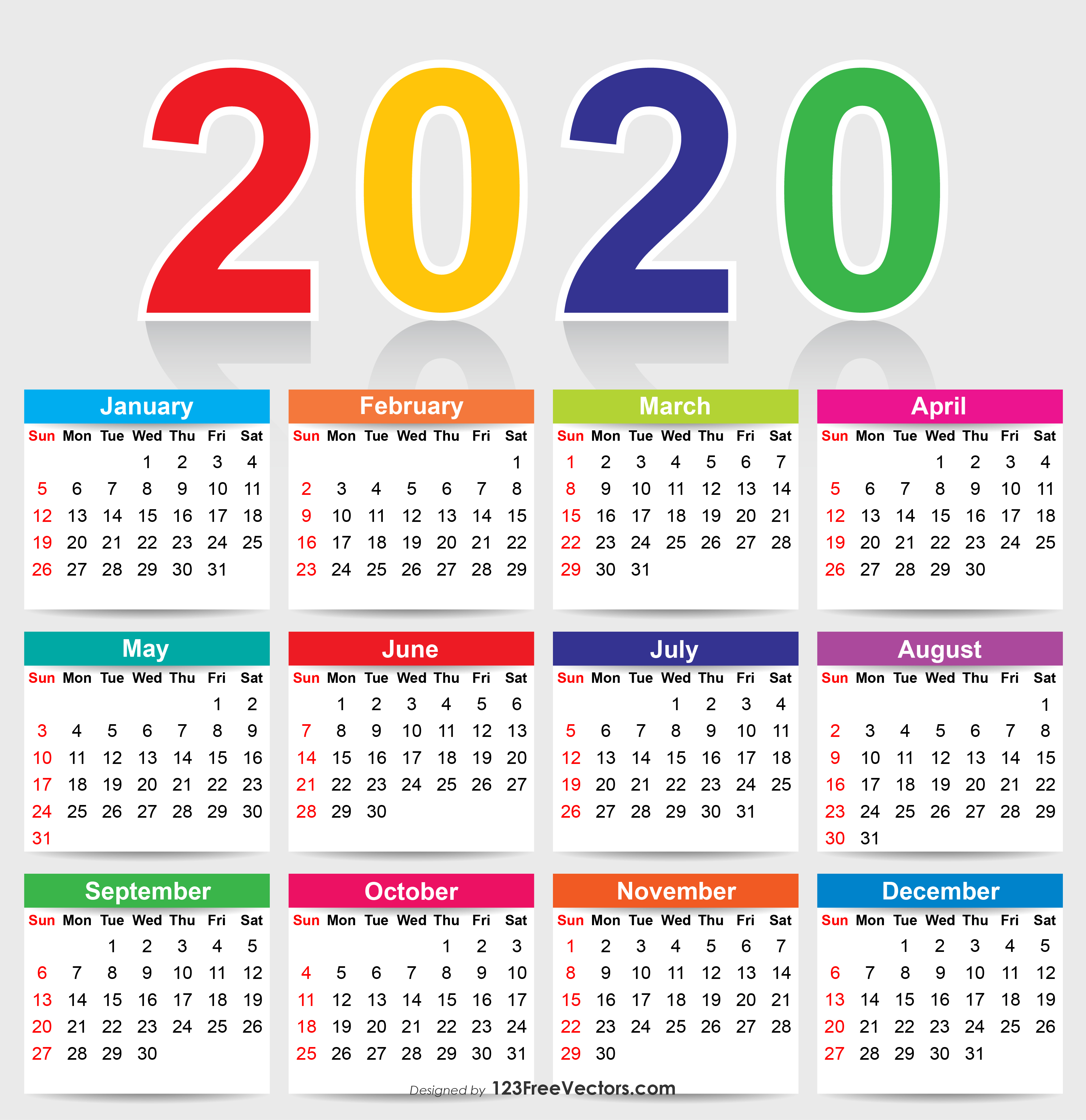 Colorful 2020 Calendar Vector