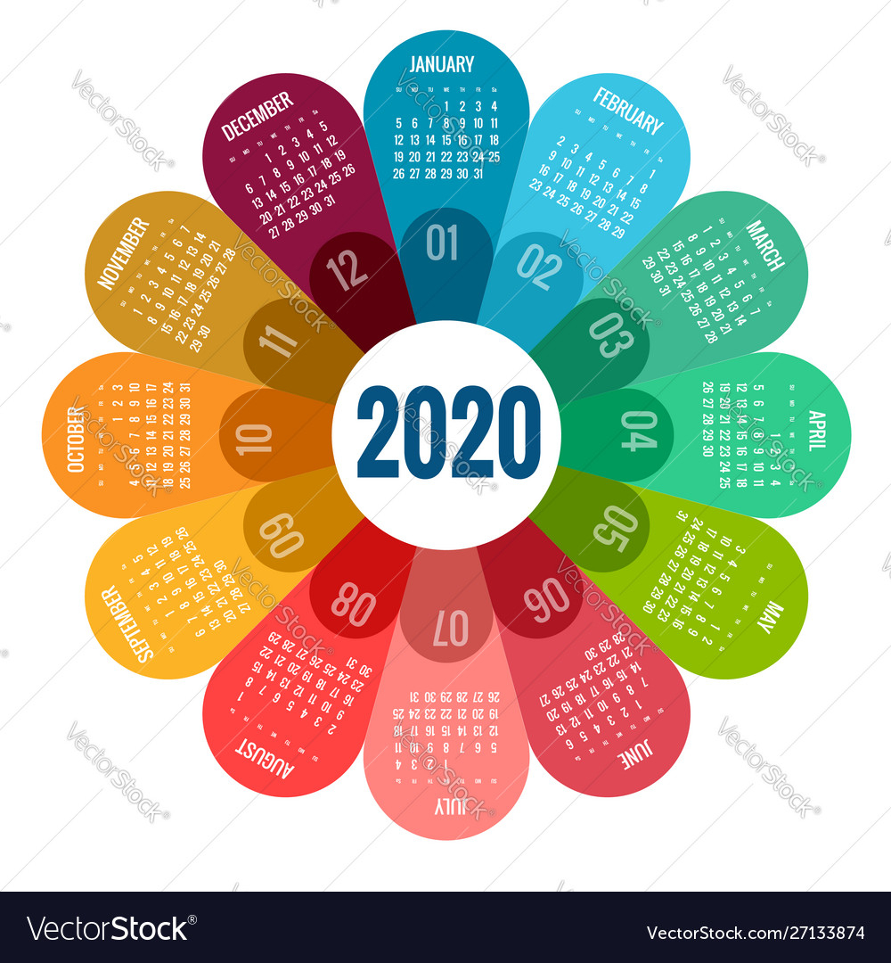 Colorful Round Calendar 2020 Design Print