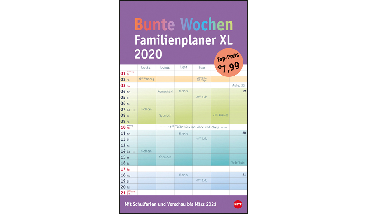Colorful Weeks Family Planner Xl 2020   Picture Calendar With Logo Printed    Deprismedia