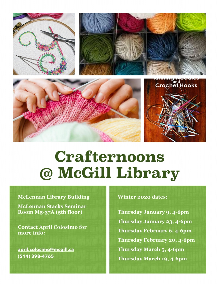 Crafternoon @ Mcgill Library | Mcgill Library - Mcgill