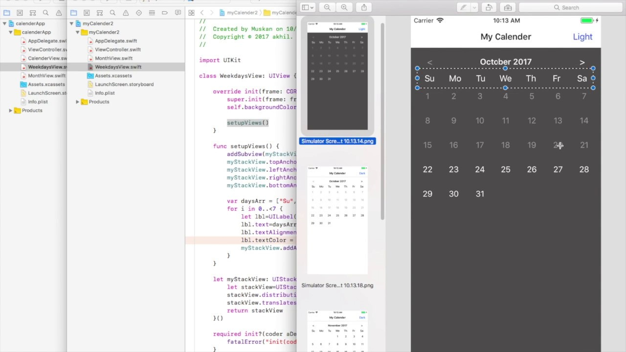 Create A Calendar For Ios In Swift 4 And Xcode 9 – App