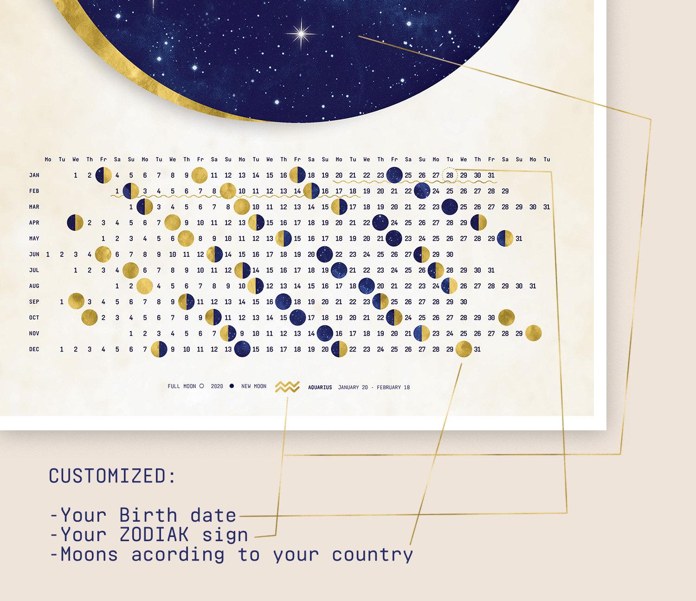 Custom Zodiac Sign Lunar Calendar / Customized Zodiac