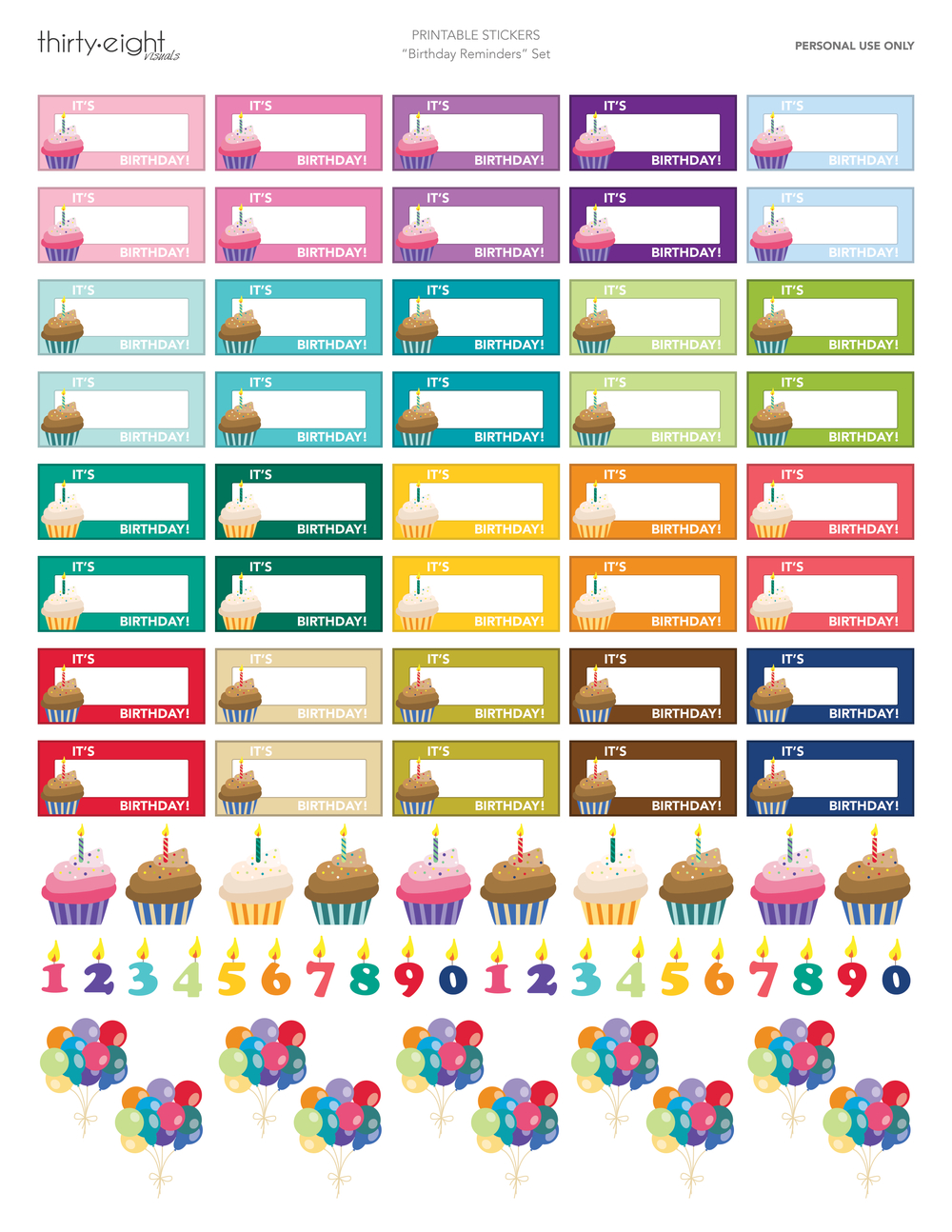 Cute Birthday Reminder Stickers For Your Planner! Click Here