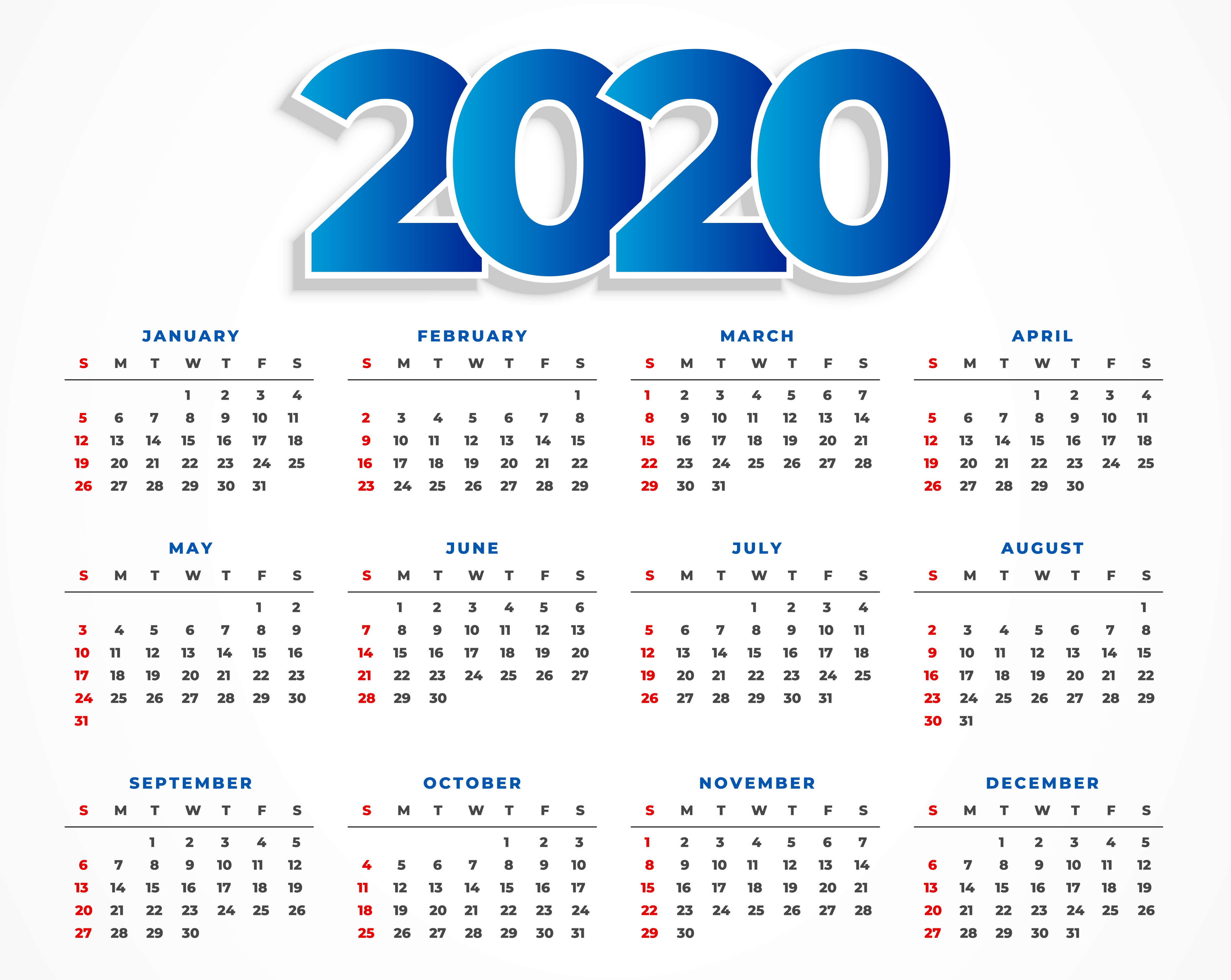 Cute Calendar 2020 Printable Template With Notes - Set Your