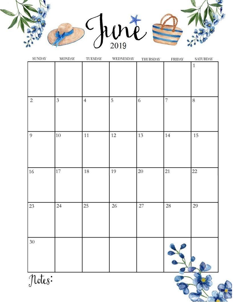 Cute June 2019 Calendar | Calendar June, June Calendar