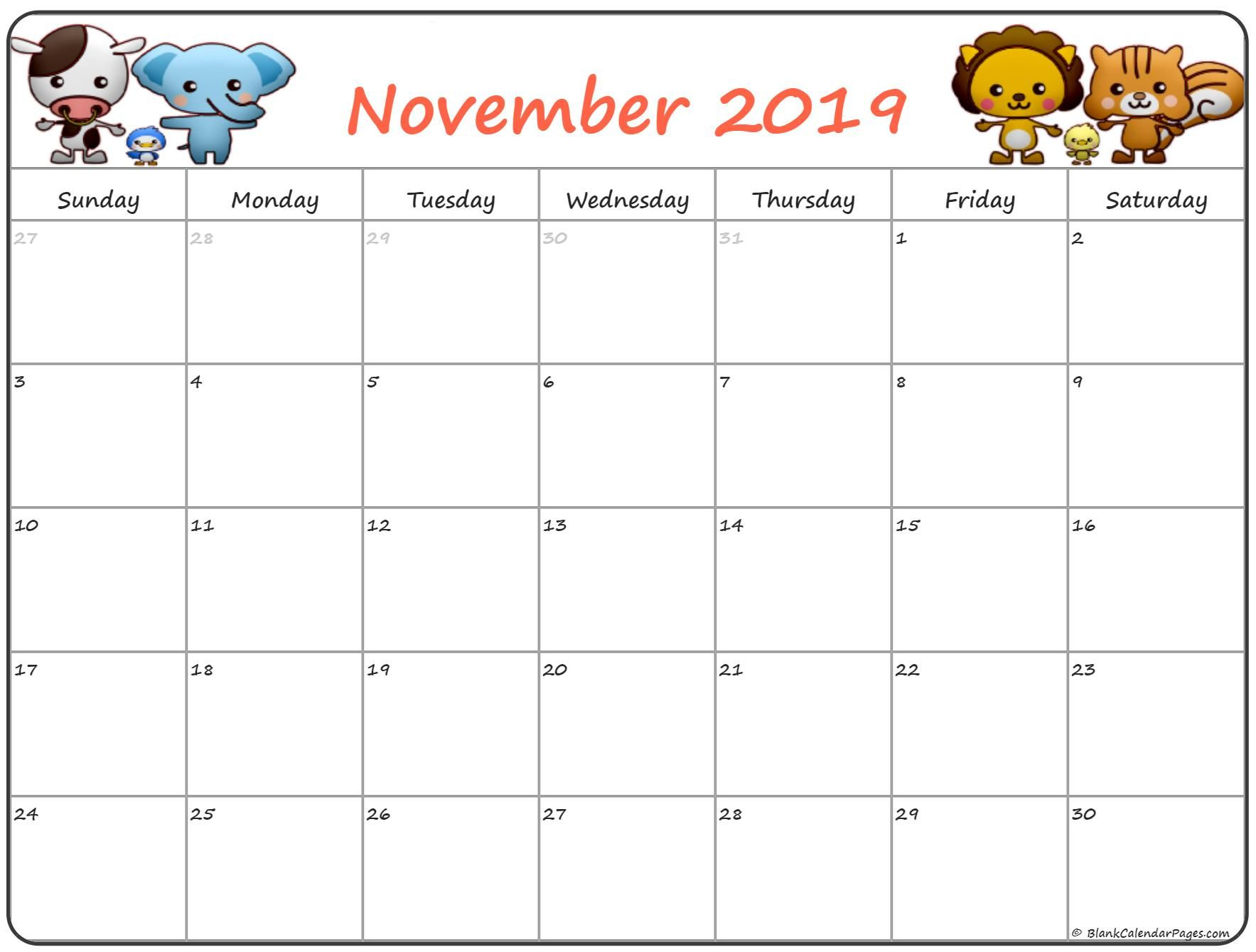 Cute November 2019 Calendar For Kids | November Calendar