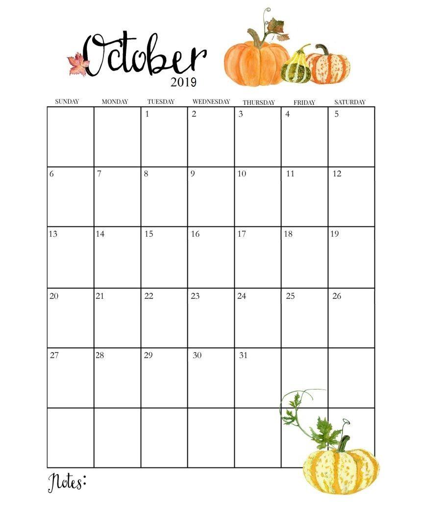 Cute October 2019 Calendar | Календарь, Настенный Календарь