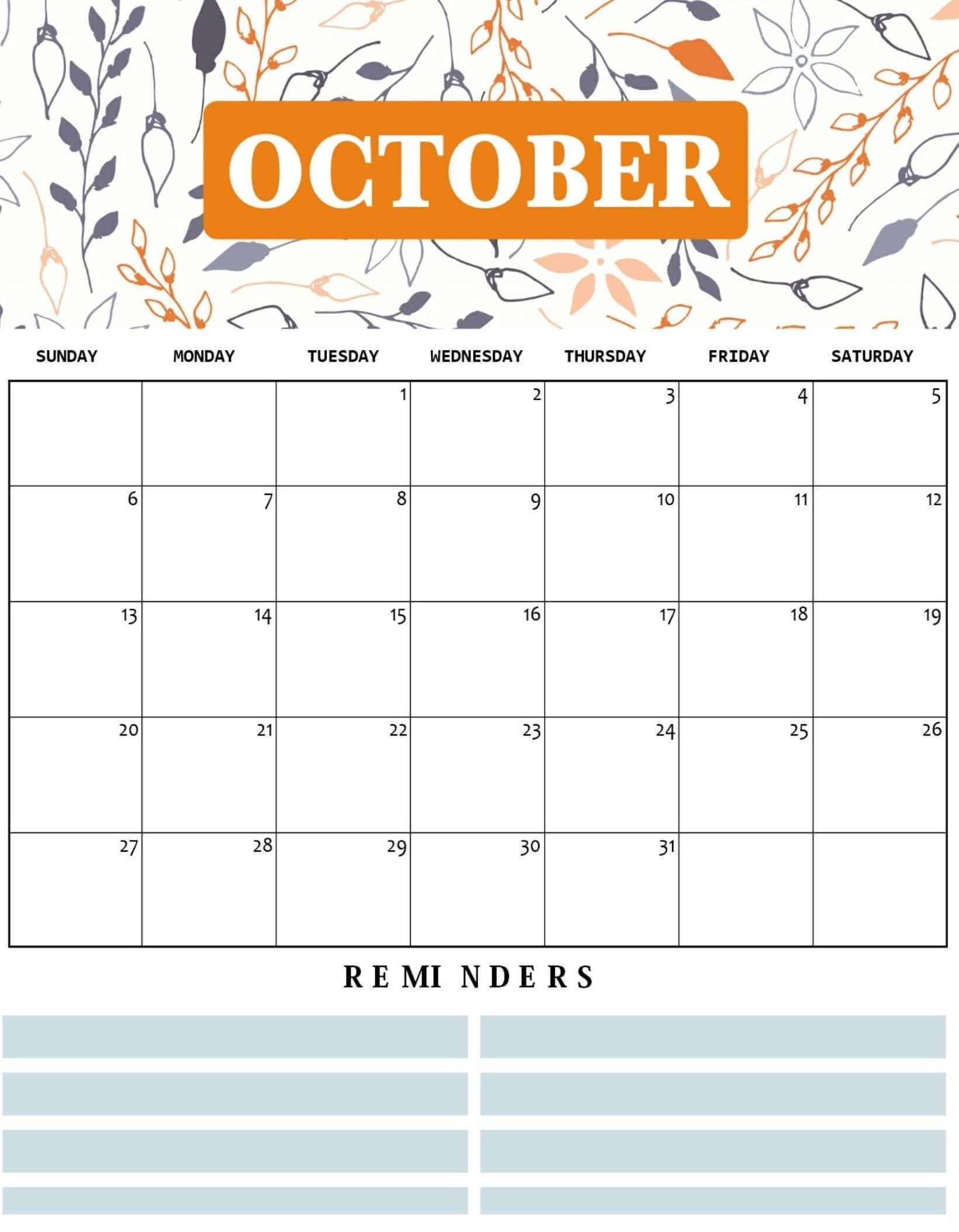 Cute October 2019 Calendar Template | October Calendar