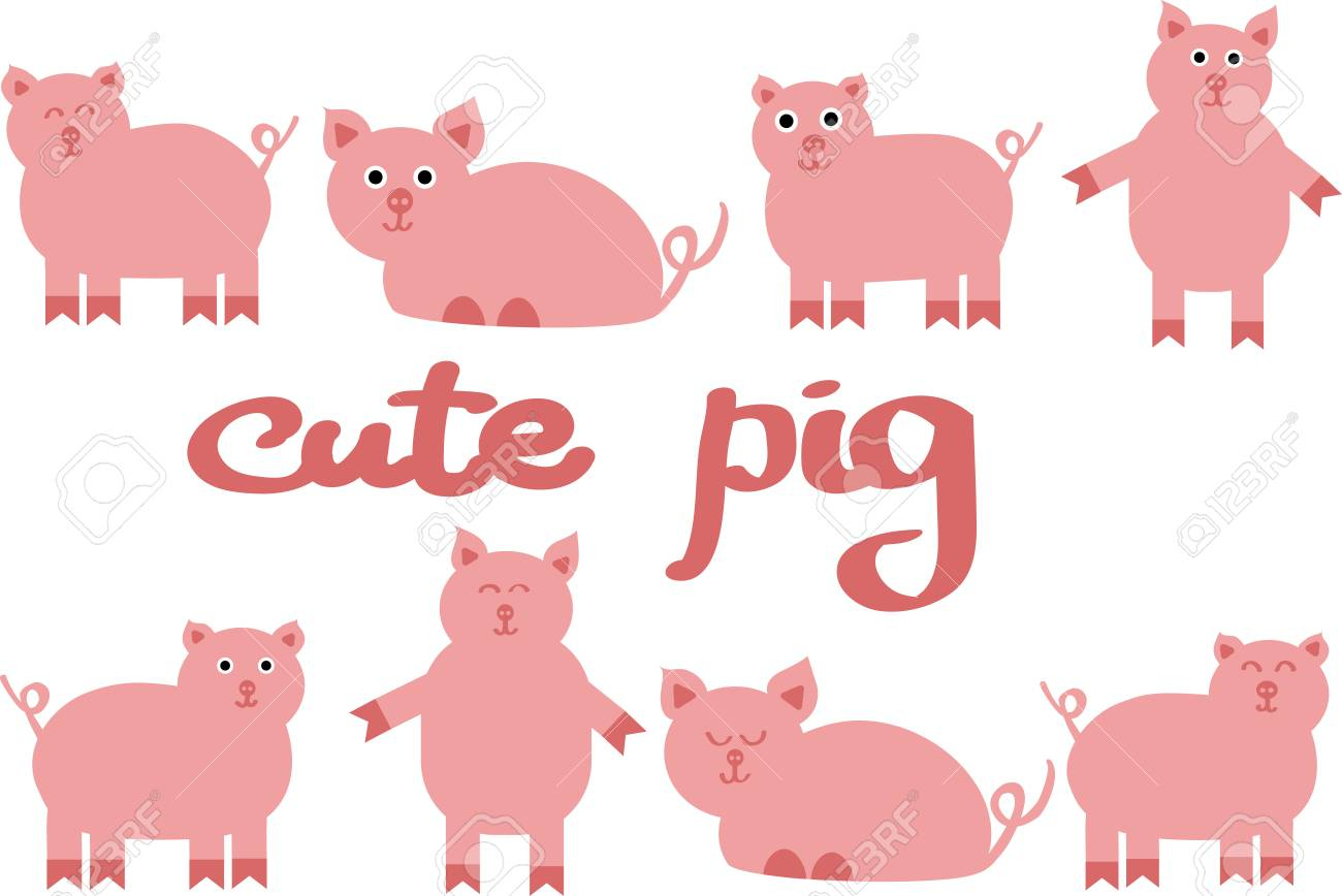 Cute Pig Vector Illustration, Drawing Of Farm Animals. Chinese..