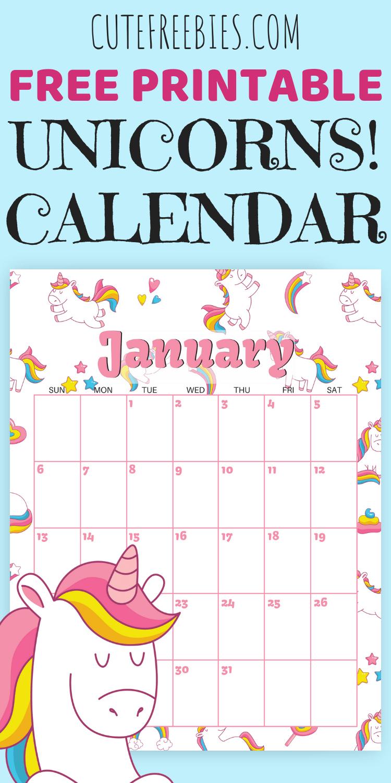 Cute Unicorn 2019 2020 Calendar - Free Printable | Календарь