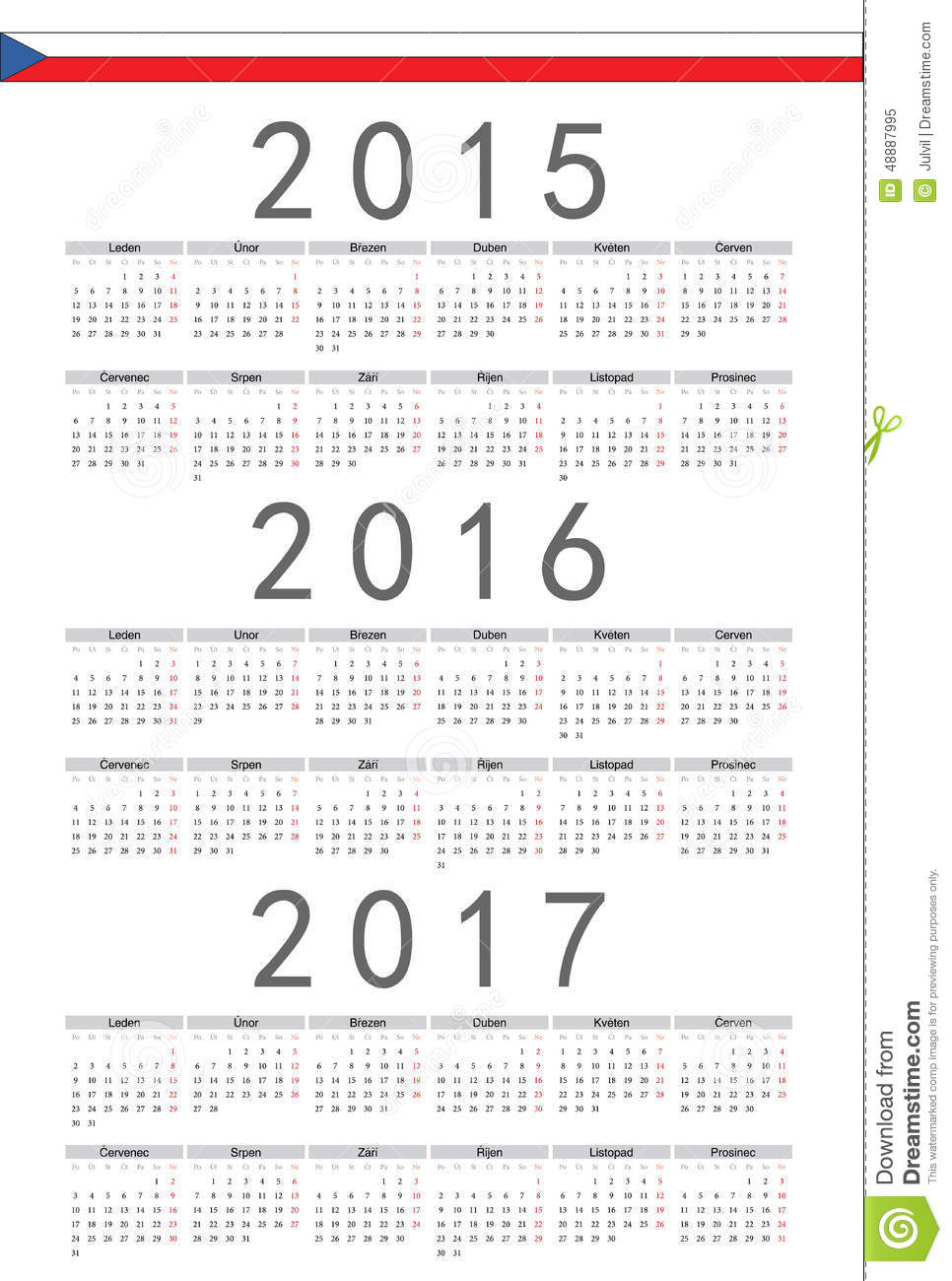 Czech 2015, 2016, 2017 Year Vector Calendar Stock Vector