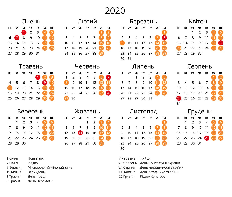 Вихідні Дні 2020 В Україні - Детальний Календар Свят - Наш
