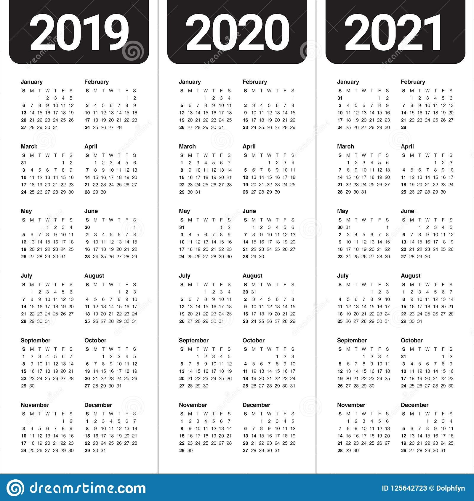 Год 2019 2020 Шаблон Дизайна Вектора 2021 Календаря