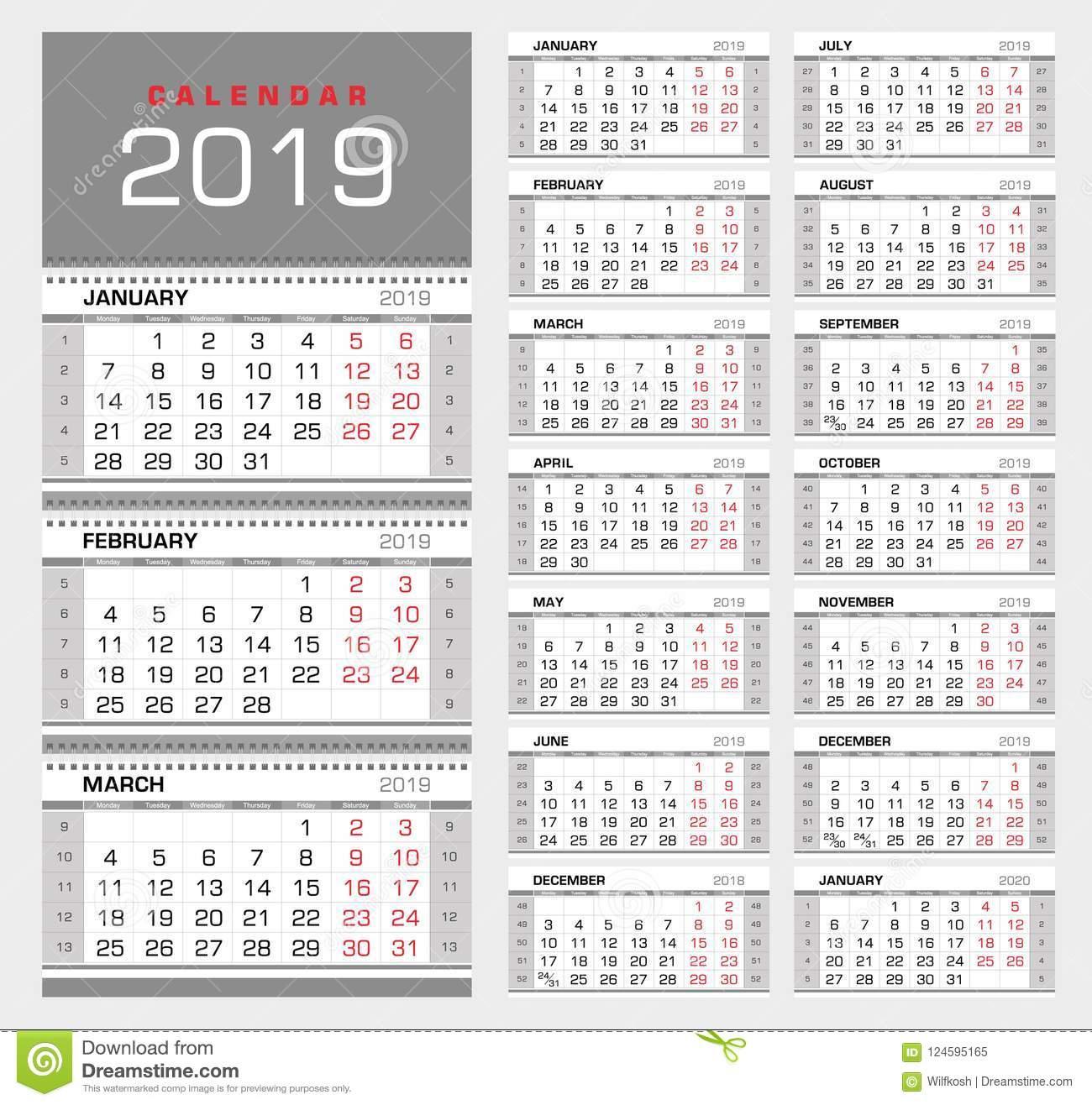 Календарь 2019 Стены Ежеквартальный С Номерами Недели Старт