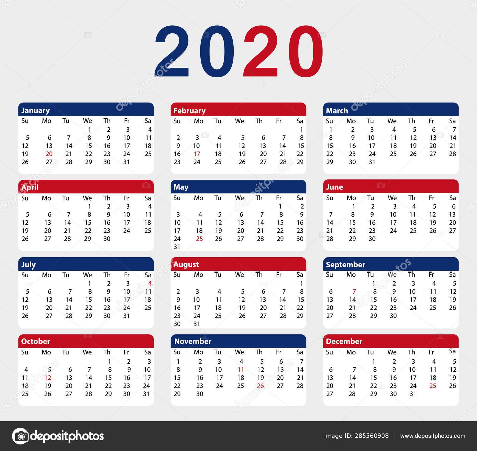 Календарь 2020 Года Месяцев Цвета Американского Флага Вектор
