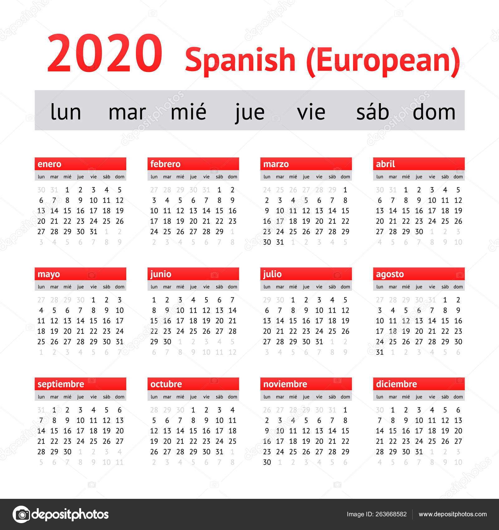 Календарь 2020 Испания. Европейский Испанский Календарь