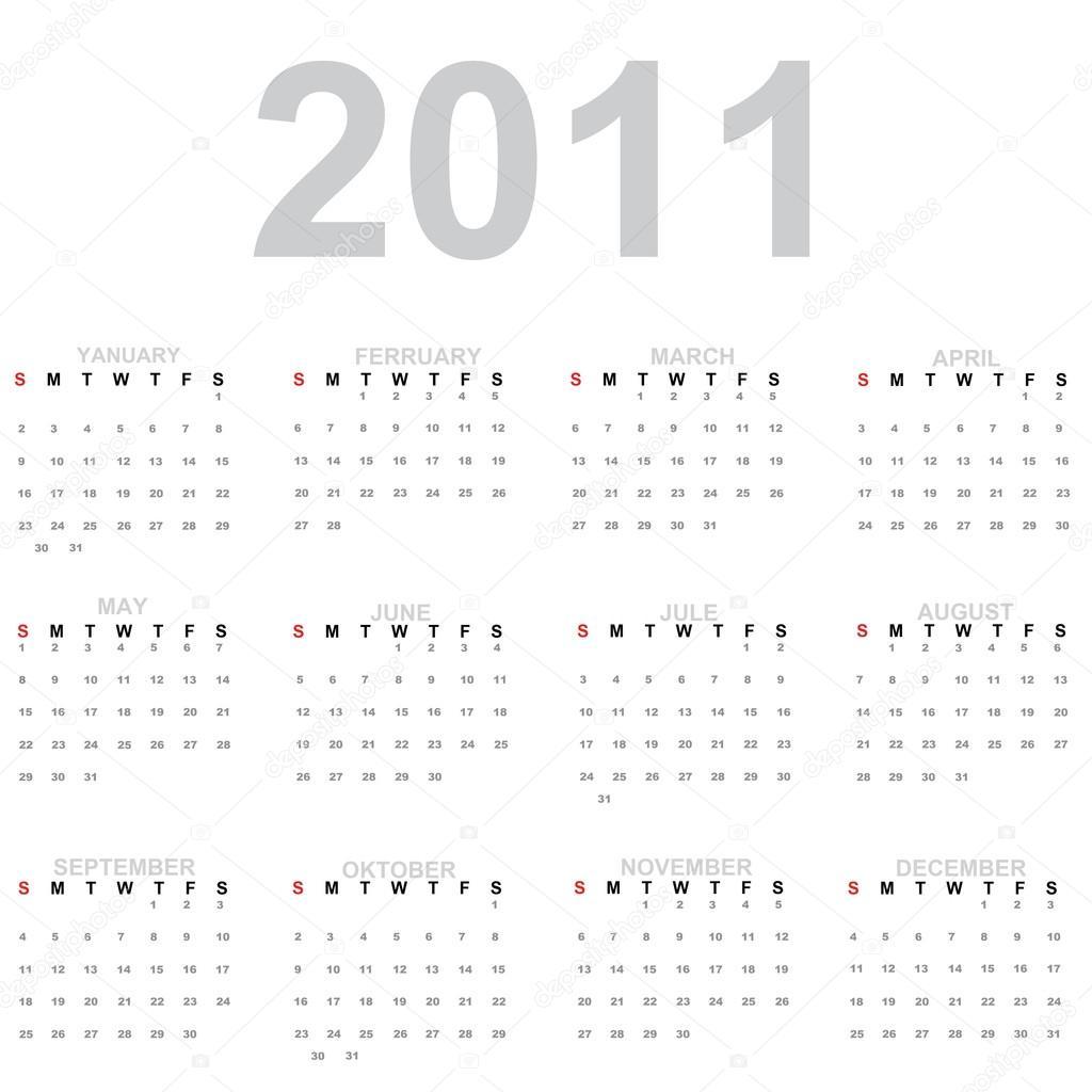 Календарь На 2011 Год. Год — Стоковое Фото © Loriklaszlo