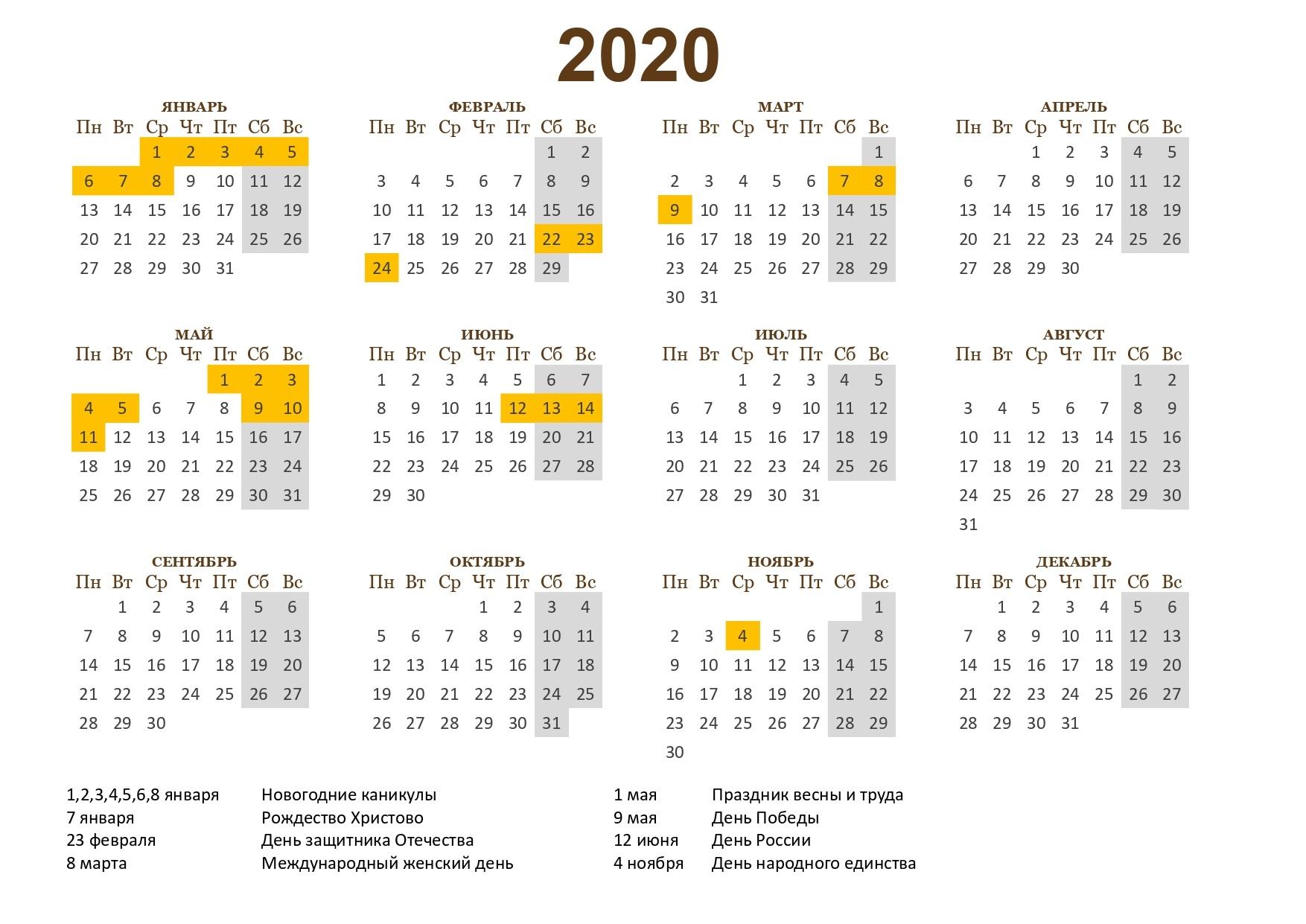 Календарь На 2020 Год С Праздниками И Выходными В России