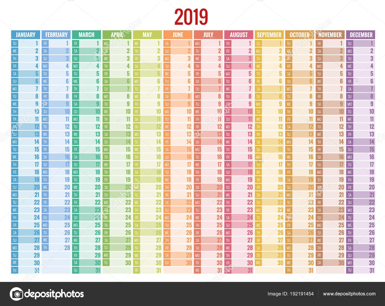Календарь-Планировщик 2019 Год. Вектор Канцелярские Дизайн