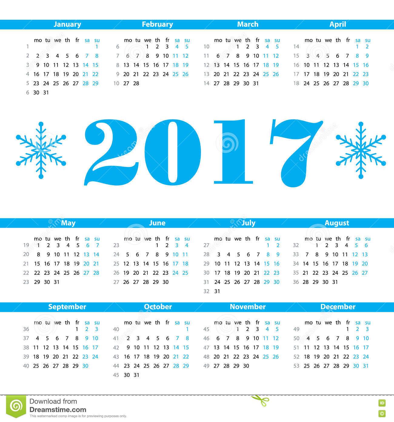 Календарь Шаблон Дизайна Вектора 2017 Год С Неделей Нумерует