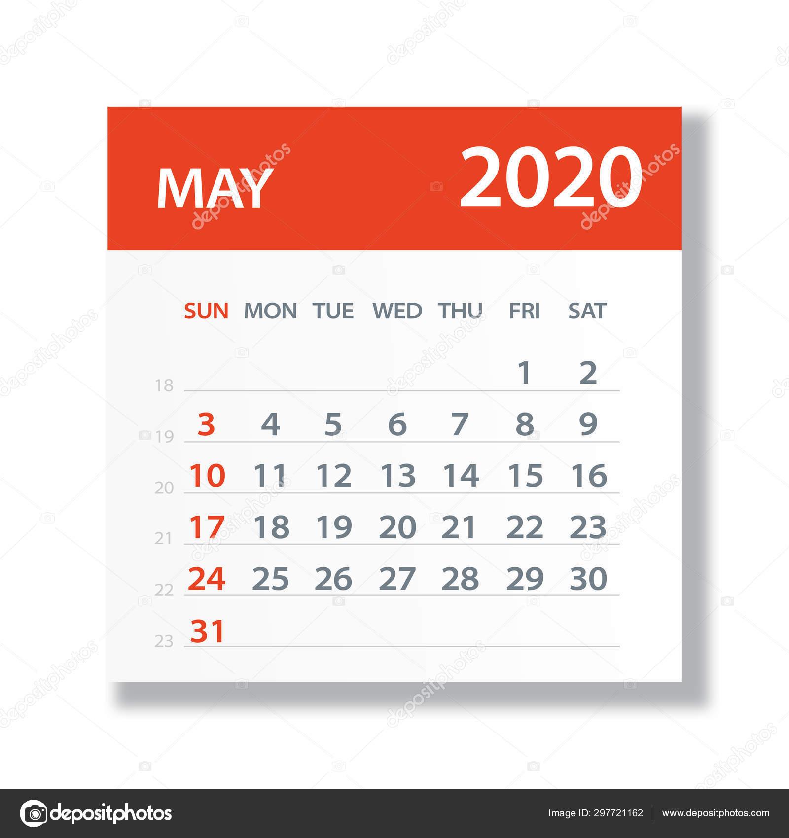 Май 2020 Календарь Лист - Вектор Иллюстрация — Векторное