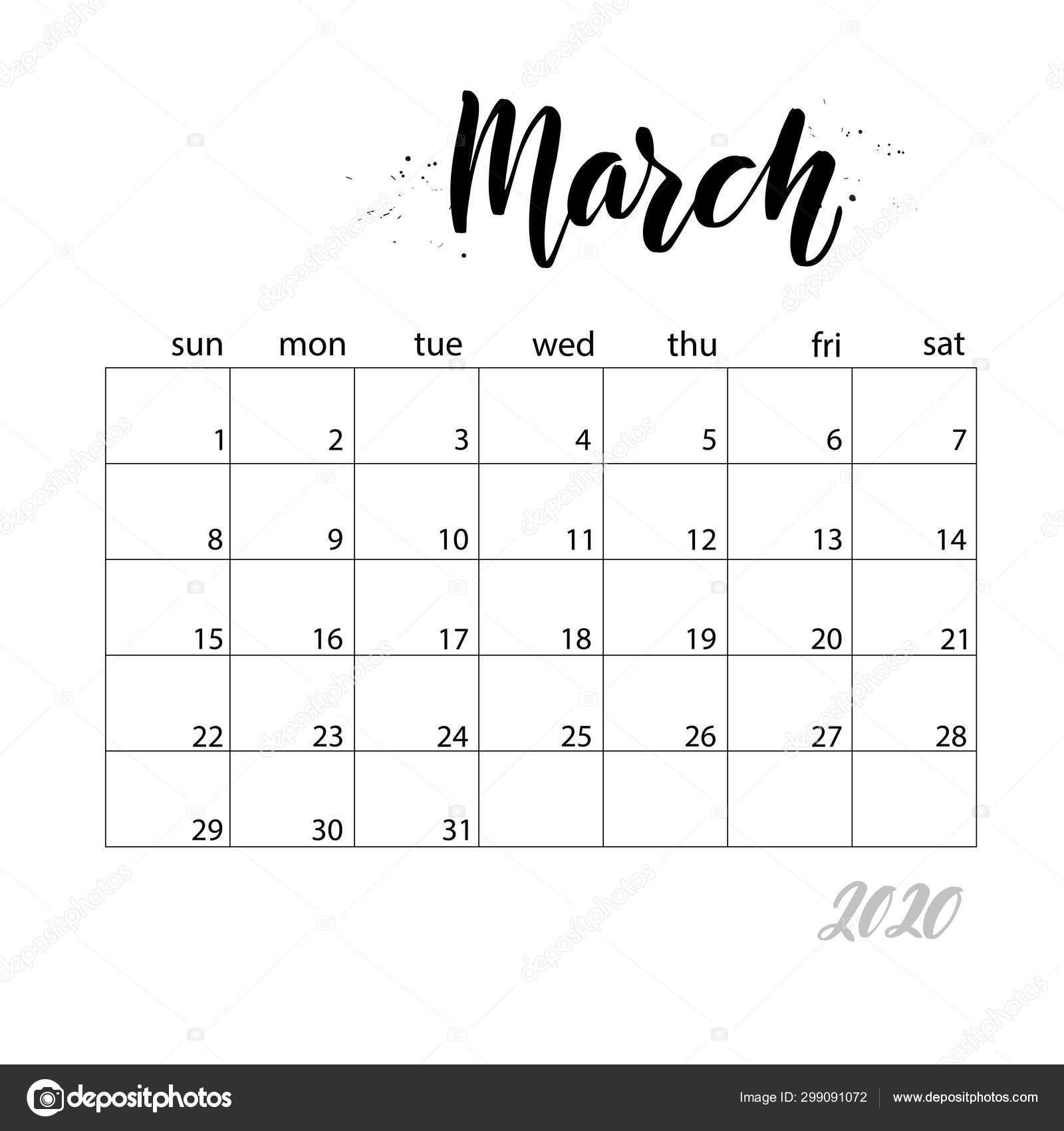 Марта. Ежемесячный Календарь На 2020 Год — Векторное