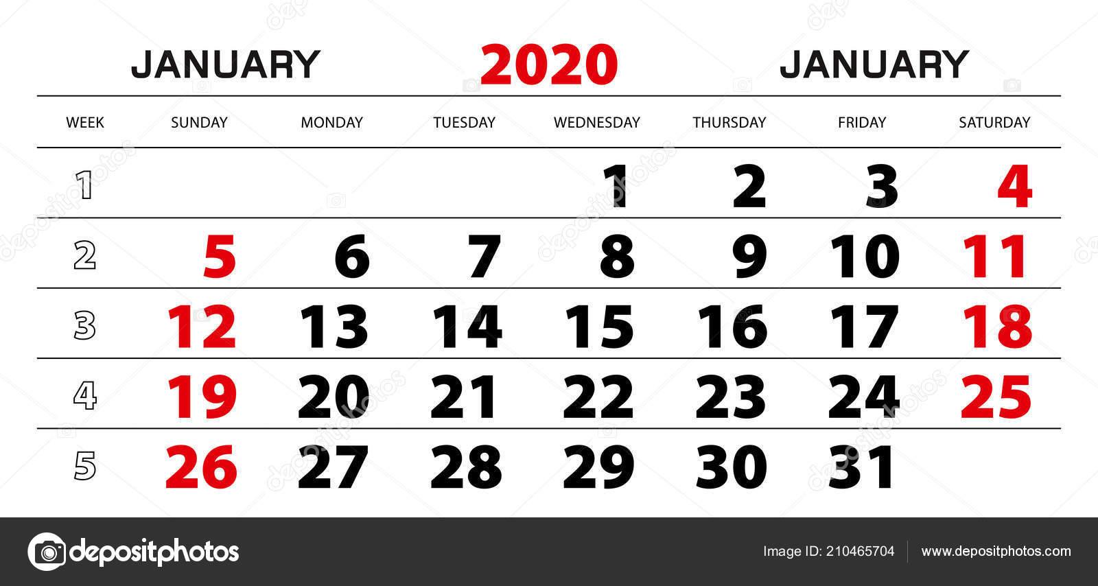 Настенный Календарь 2020 Января Начало Недели Воскресенья