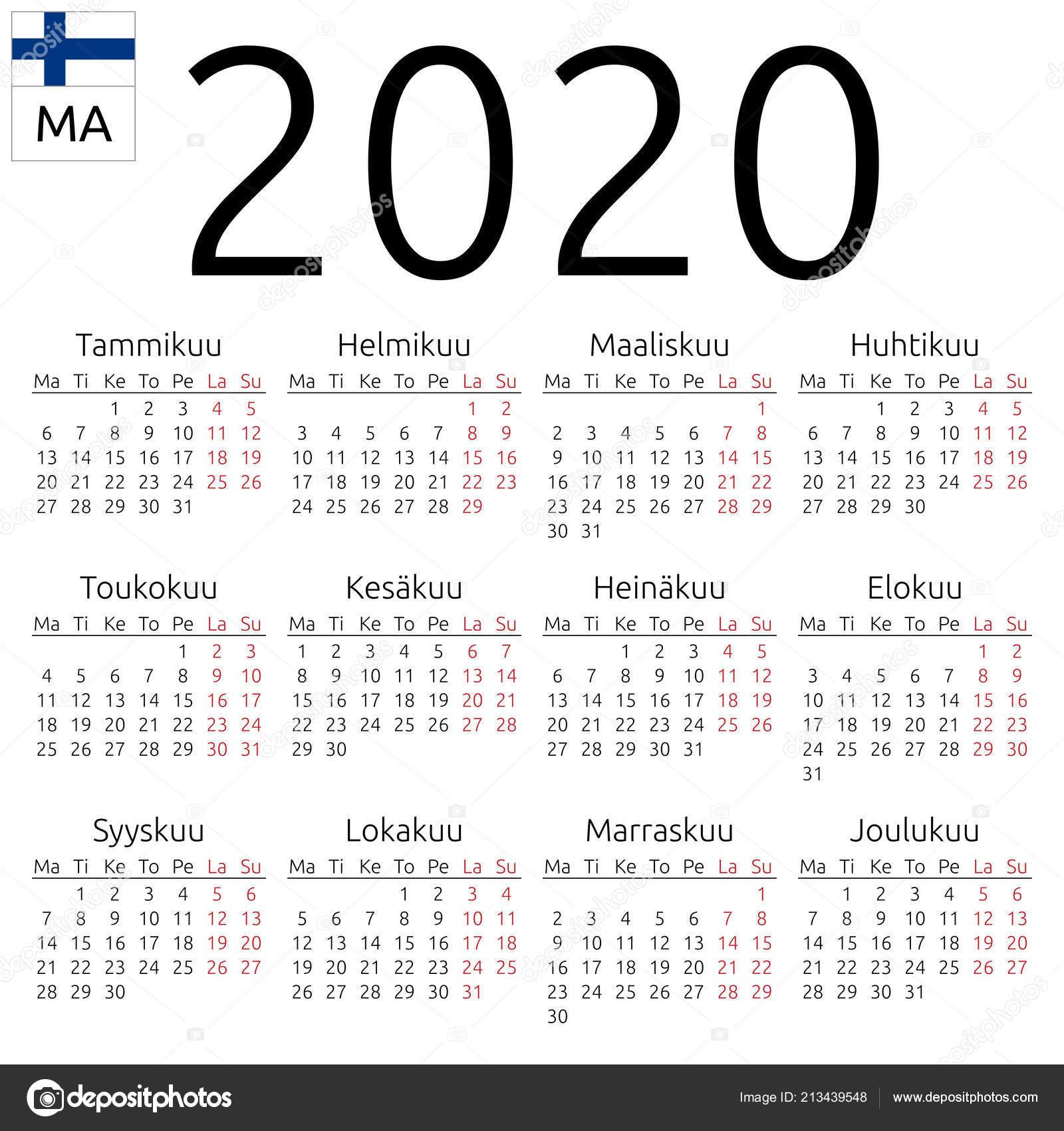 Настенный Календарь Простой 2020 Год Финский Язык Неделя