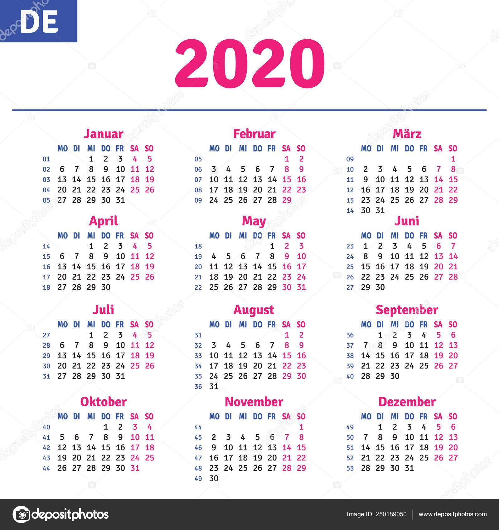 Немецкие Календарь 2020 — Векторное Изображение © Rustamank