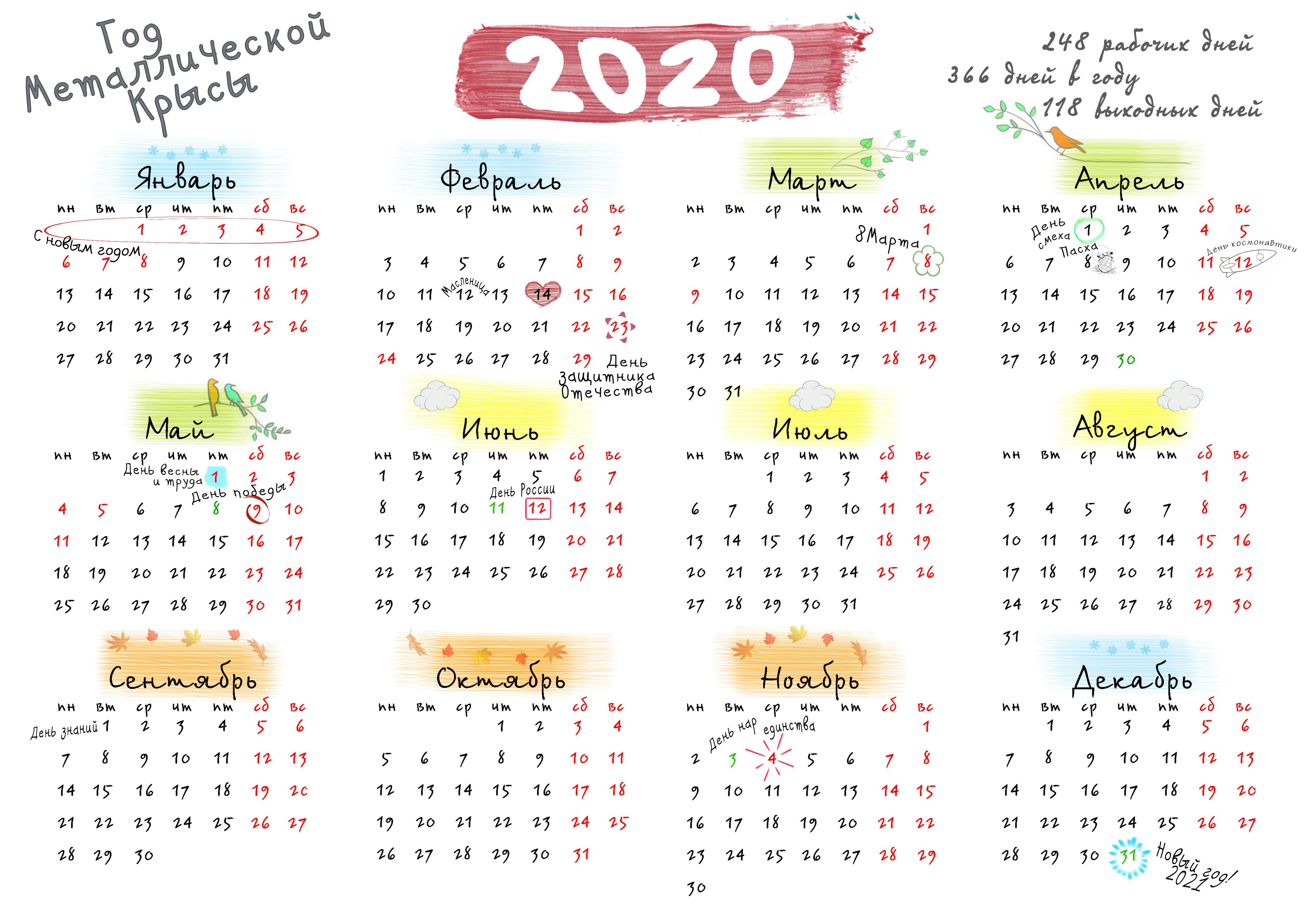 Производственный Календарь 2020 Года   Календарь, Календарь