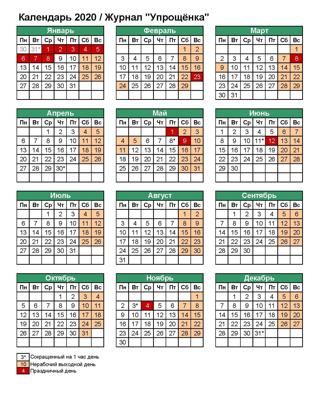 Производственный Календарь Рф На 2020 Год