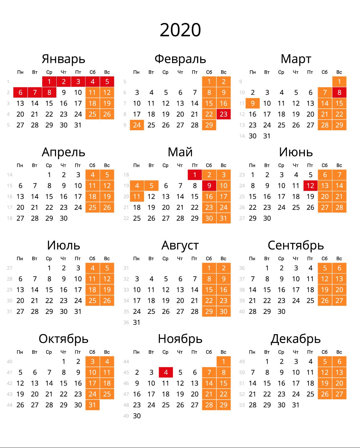 Скачать Календарь На 2020 Год В Форматах: Word, Pdf, Jpg