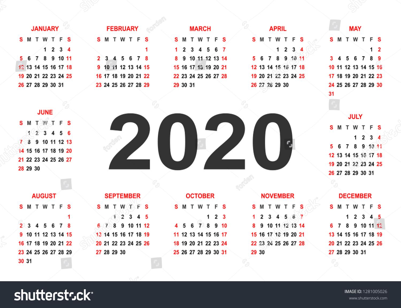 Стоковая Векторная Графика «Calendar 2020 Week Starts On