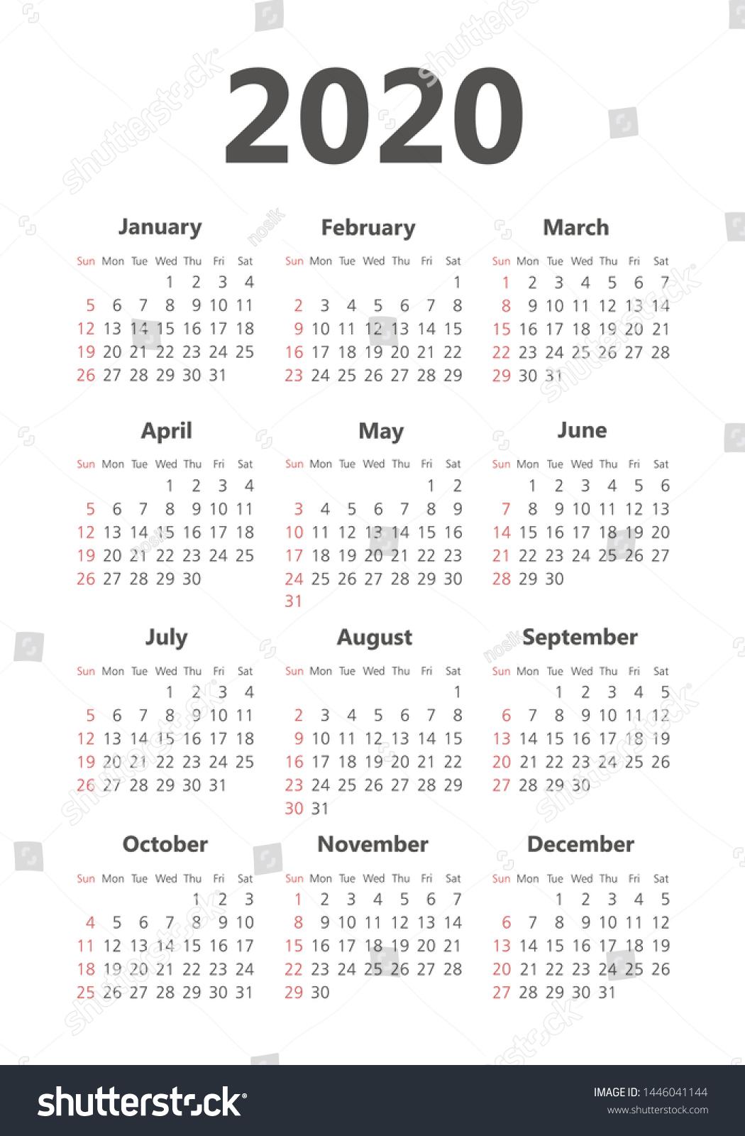 Стоковая Векторная Графика «Calendar 2020 Year Black White
