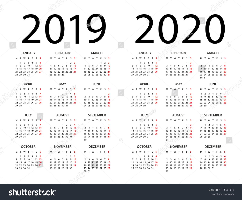 Стоковая Векторная Графика «Календарь 2019 2020 Год