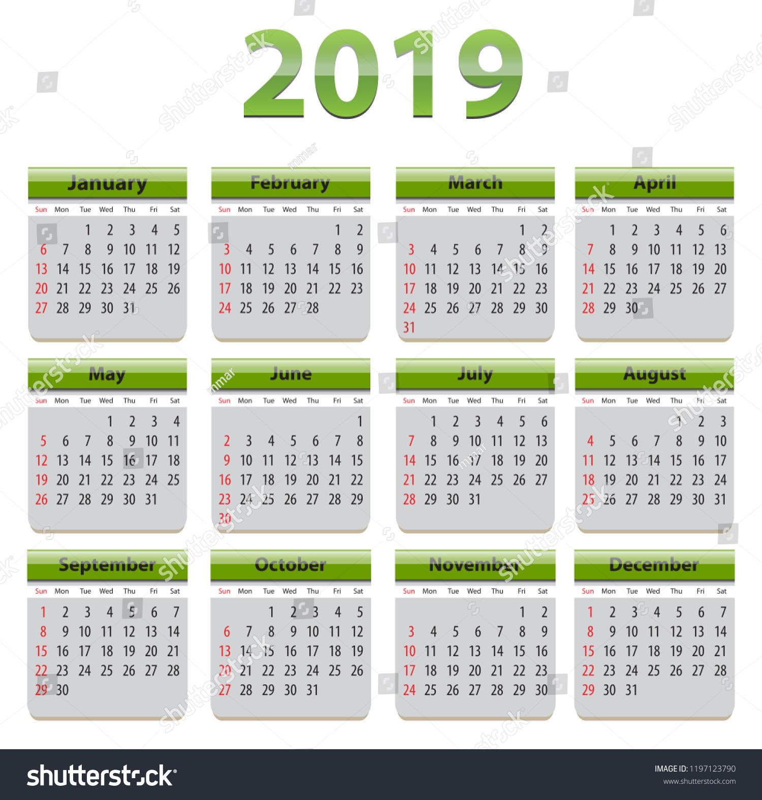 Стоковая Векторная Графика «Green Calendar 2019 Year English