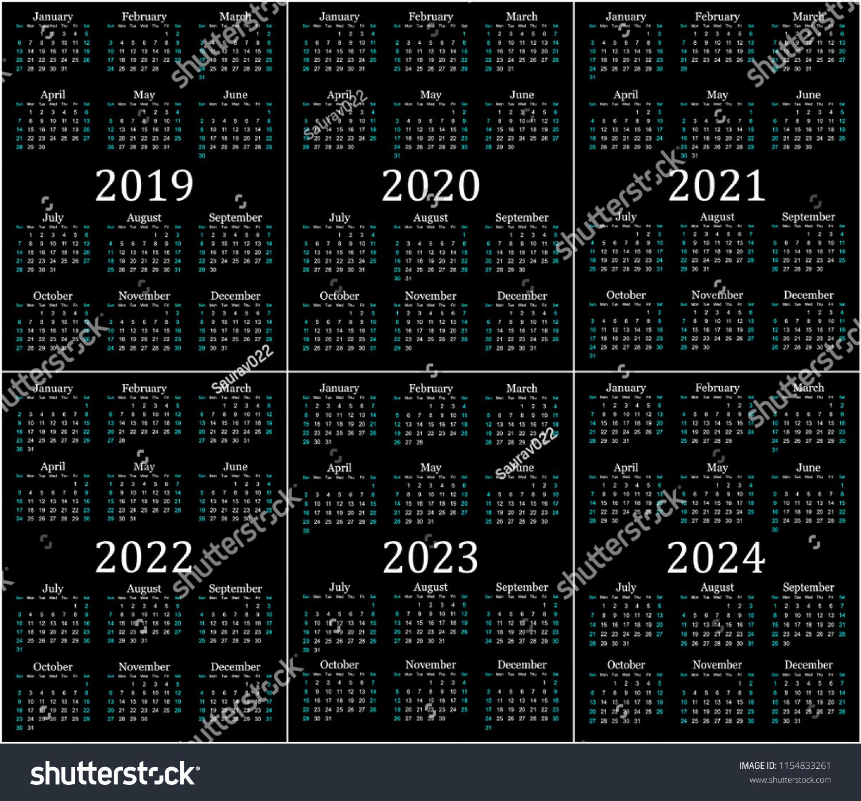 Стоковая Векторная Графика «Six Year Calendar 2019 2020 2021