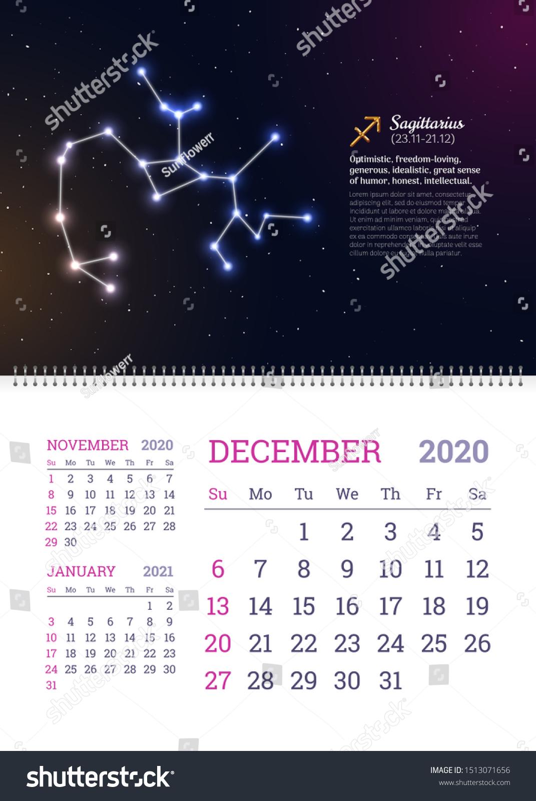 Стоковая Векторная Графика «Wall Calendar December 2020 Year