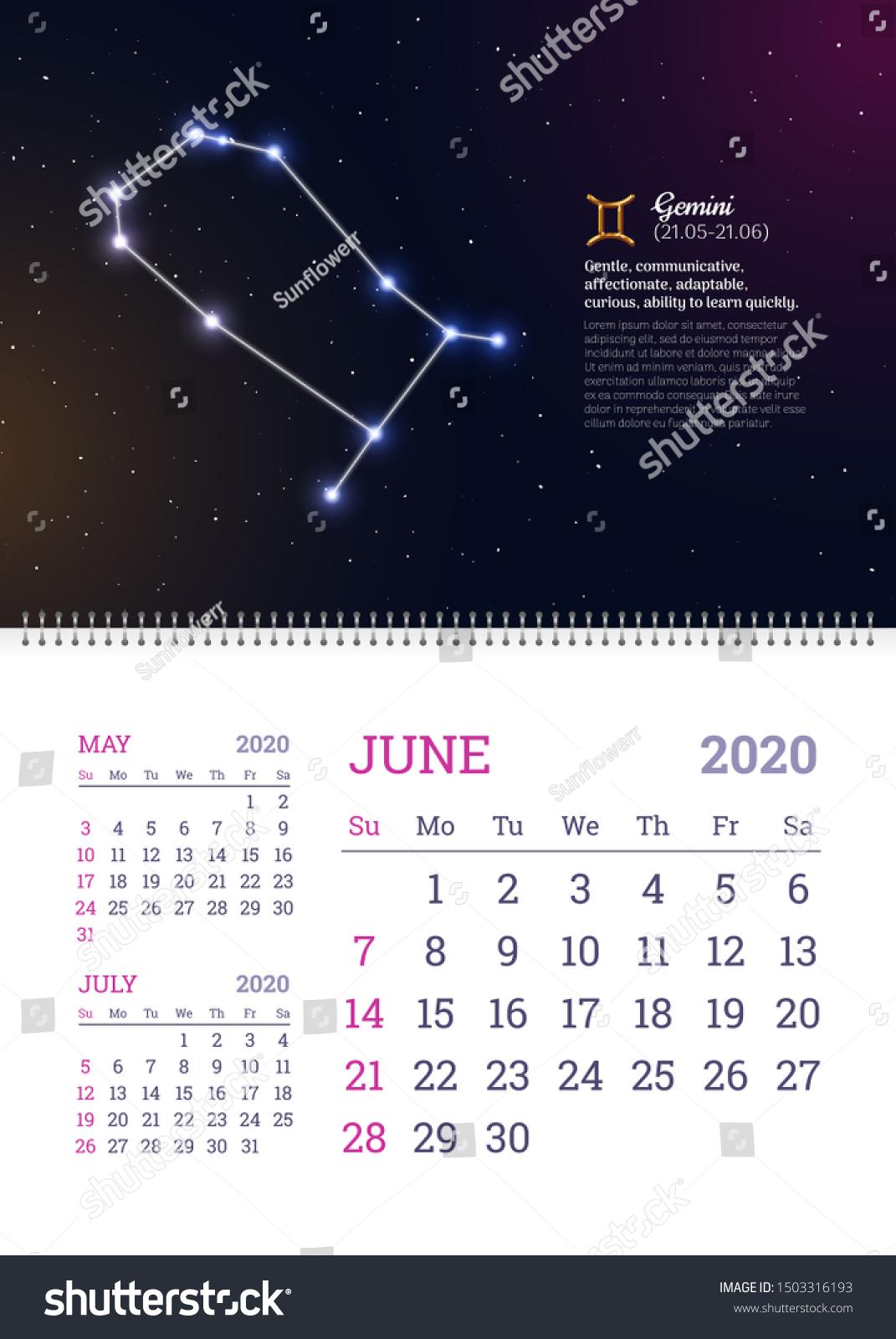 Стоковая Векторная Графика «Wall Calendar June 2020 Year