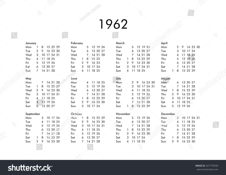 Стоковая Иллюстрация «Vintage Calendar Year 1962 All Months