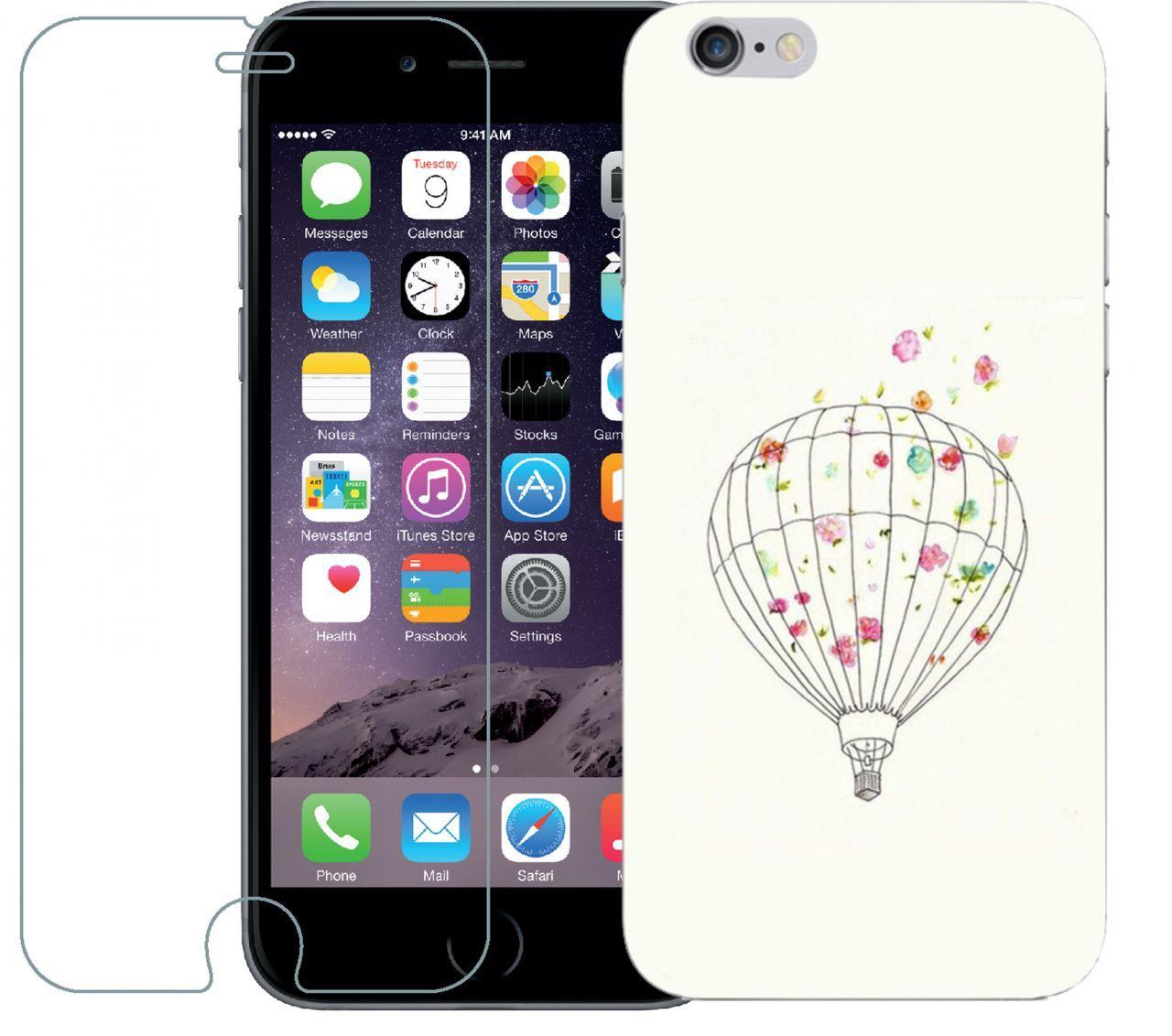 Чехол 1Touch Print Case Apple Iphone 6, Iphone 6S White + Tempered Glas -  Bigl.ua