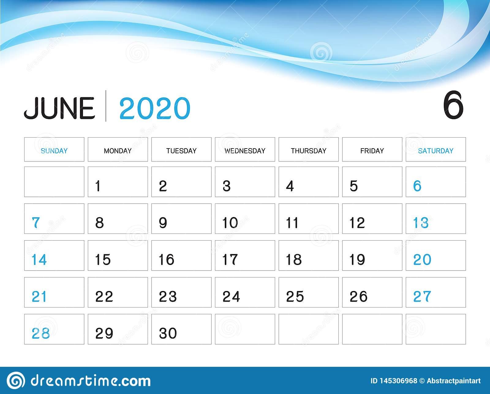 Шаблон Года Июня 2020, Вектор 2020, Дизайн Настольного