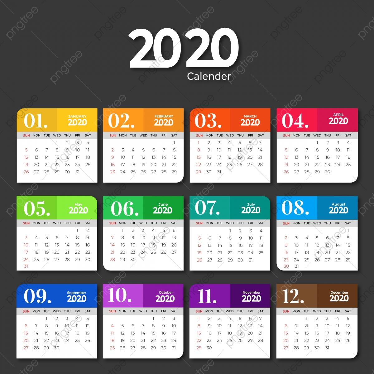 Шаблон Календаря 2020 Года С Сплошными Цветами, Шаблон