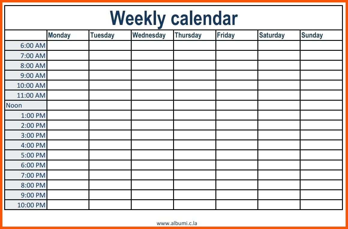 Daily Calendar With Times - Wpa.wpart.co